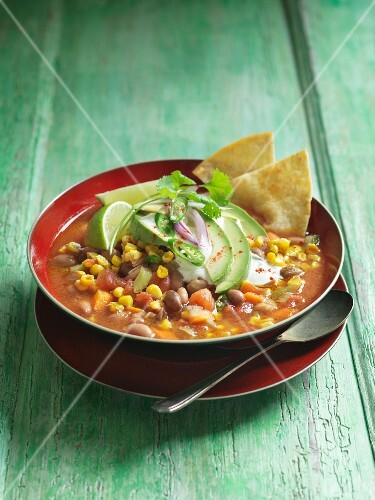 Bean soup with sweetcorn, avocado and tortilla crisps (Mexico)