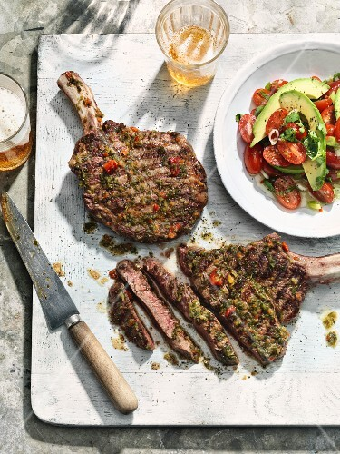 Ribeye steak with chimi-churri and avocado salad