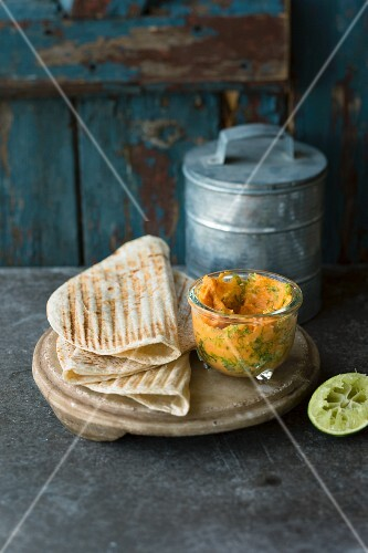 Chapati with a sweet potato and mango spread