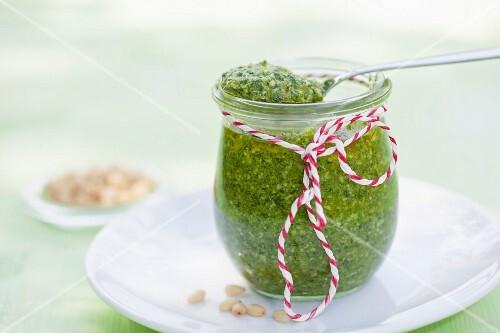 A jar of vegan cedar pesto