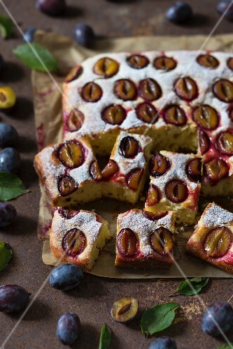 Yeast cake with plums and icing sugar, sliced