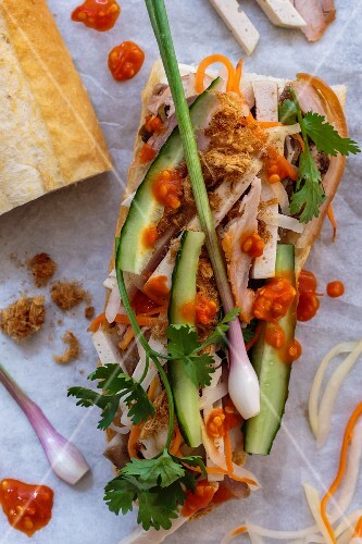 A baguette topped with chicken, cucumber and spring onions (Vietnam)
