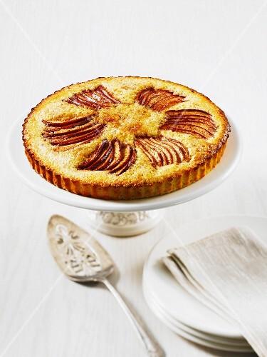 Apple tart on a cake stand