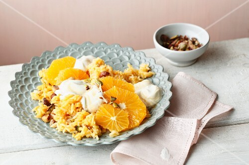 Oriental orange rice with pistachios and dried apricots