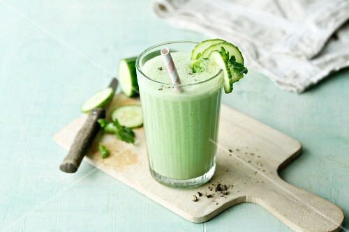 A cucumber and kefir smoothie with fresh coriander