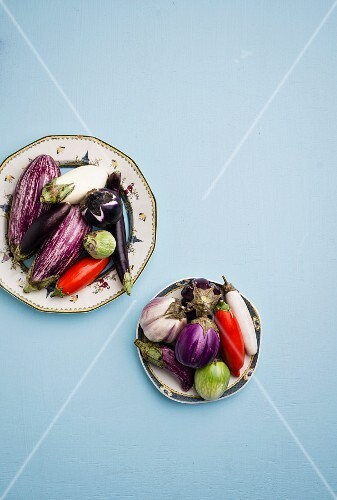 Aubergines on two plates