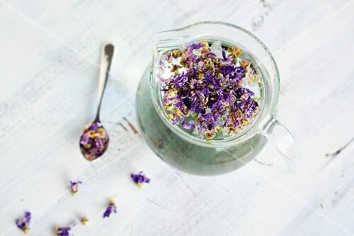 Mallow tea in a teapot