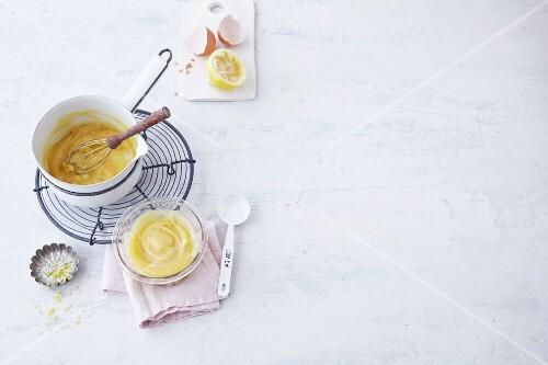 Lemon curd being made
