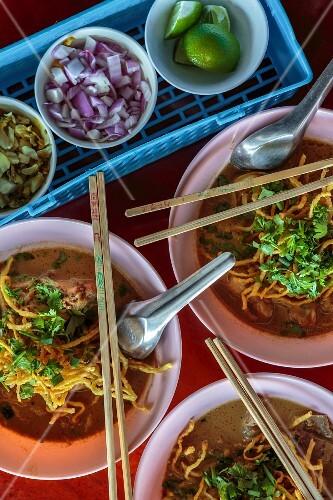 Khao Soi (noodle soup with spices, Thailand)