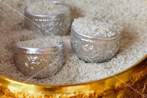 Bowls of jasmin rice, Thailand