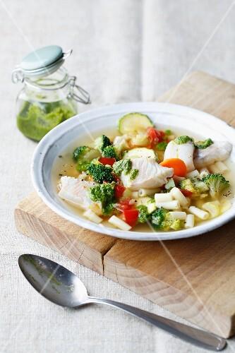 Fish minestrone with pasta and pesto
