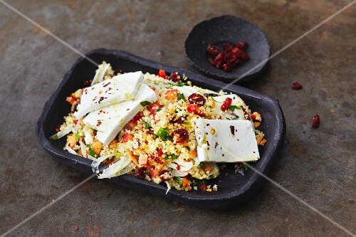 Vegetarian couscous salad with fennel and sheep's cheese