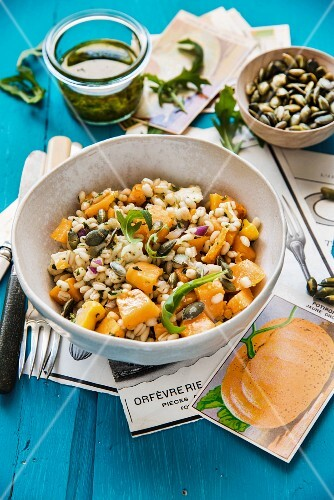 Barley salad with diced pumpkin and goat's cheese