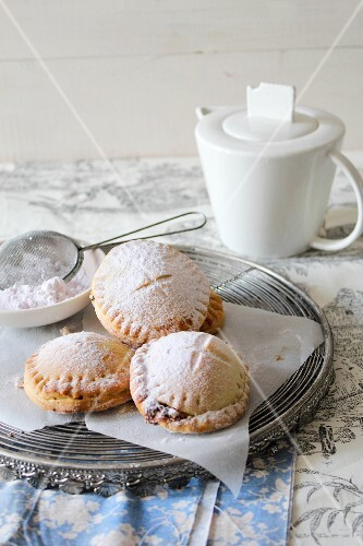 Sweet pies dusted with icing sugar (Italy)