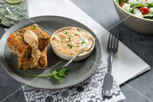 Vegan bulgur slices with hummus