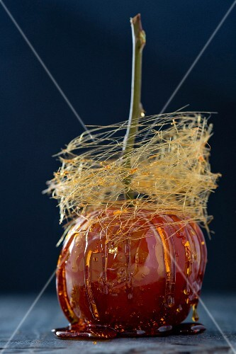 A toffee apple with spun sugar
