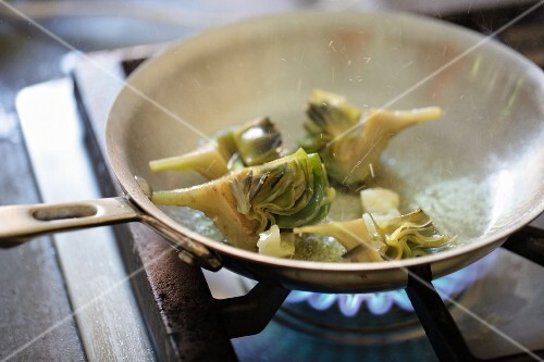 Artichokes in a pan