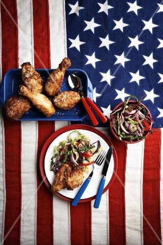 Buttermilk chicken with salad (USA)