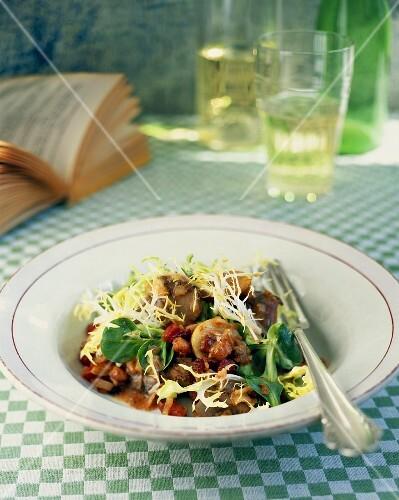 Chicken liver pâté salad with frisee lettuce