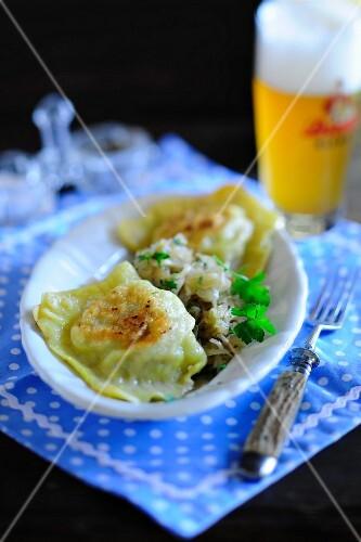 Fried Swabian ravioli with beer