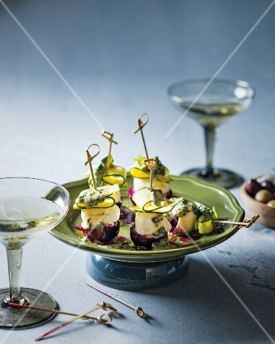 Beetroot and mozzarella skewers