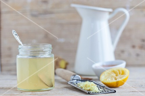 A jar of ginger and lemon honey