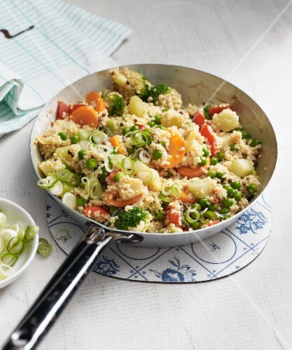 Vegan couscous dish with colourful vegetables