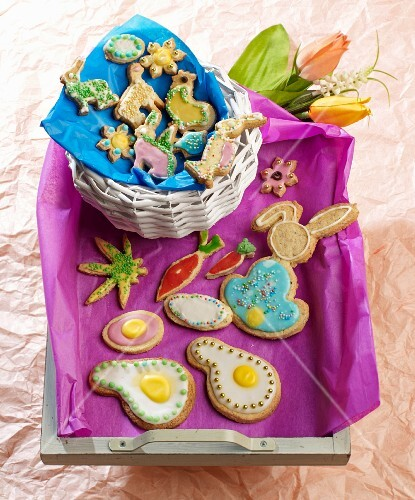 Almond biscuits decorated for Easter