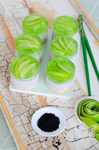 Black sesame seed tartlets with sour apple jelly