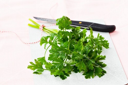 Parsley with a knife