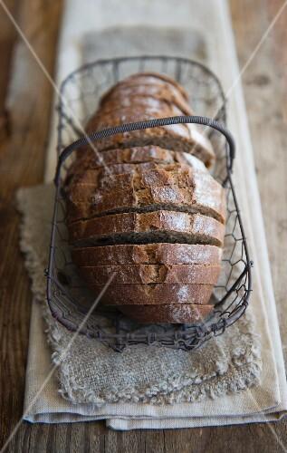 Sliced rye bread in a wire basket