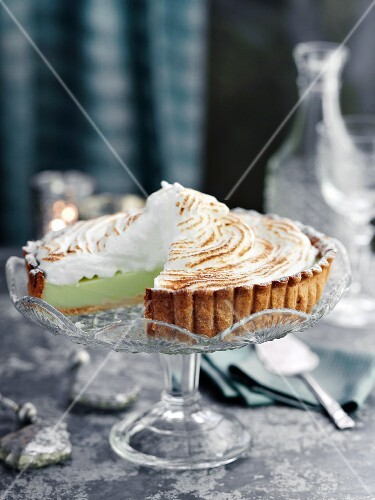 Lemon and lime meringue pie, sliced