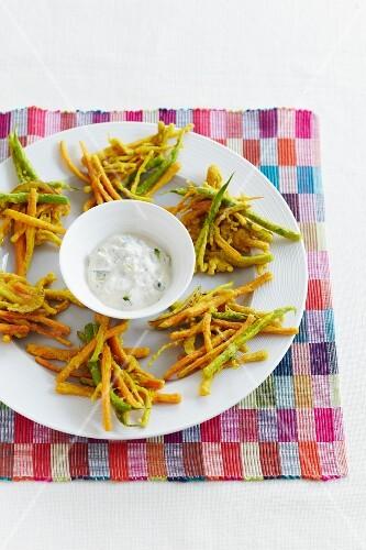 Carrot and green bean tempura with a yoghurt dip