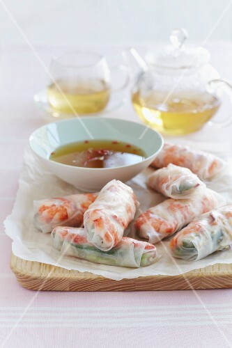 Spring rolls with cucumber, crayfish and a chilli dip (Vietnam)