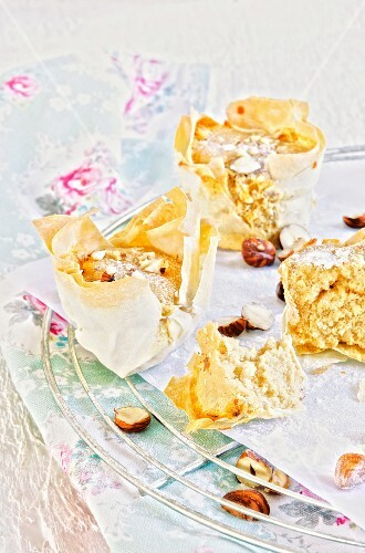 Hazelnut muffins in filo pastry cases
