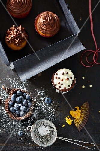 Chocolate cupcakes and blueberry tartlets