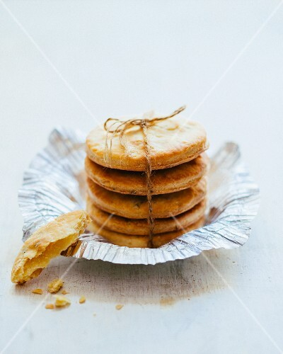 A stack of Parmesan biscuits