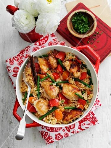 Reis mit Huhn, Gemüse & Zimt (Aufsicht)