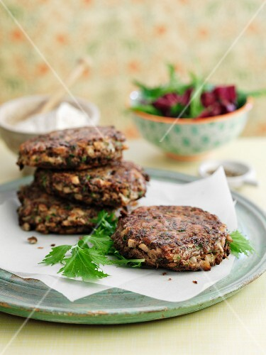 Burgers with beans and mushrooms