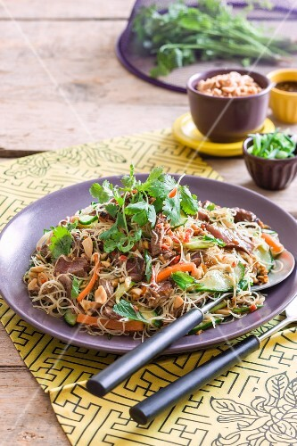 Beef salad with noodles, vegetables and coriander