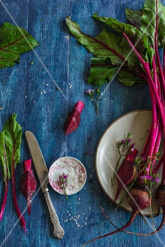 Heirloom beetroot with a bowl of salt