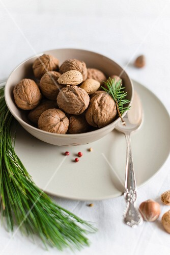 A bowl of walnuts and almonds