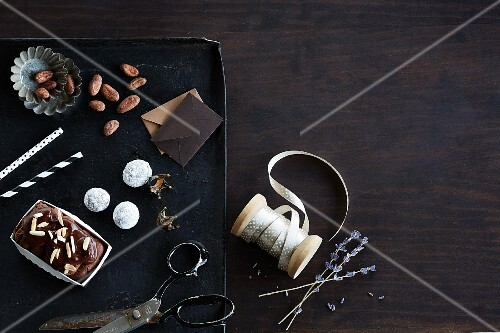 Chocolate terrine, truffle pralines and cocoa beans