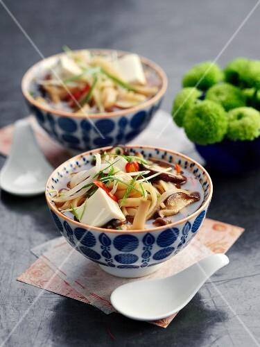 Noodle soup with shiitake mushrooms, chilli and tofu (Asia)