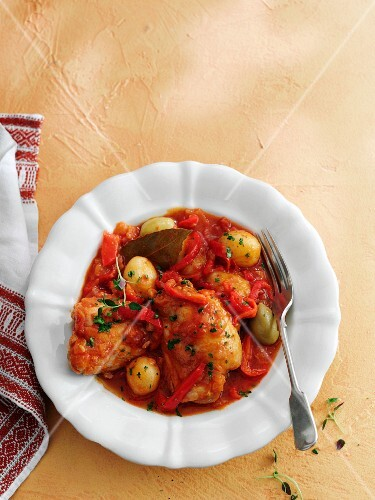Pollo Al Chilindron (braised chicken and vegetables, Spain)