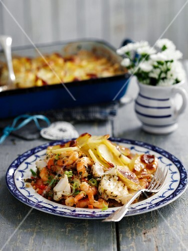 Seafood pie with a mashed potato topping