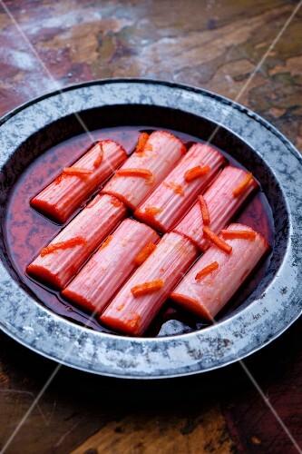Slow roasted rhubarb with orange zest