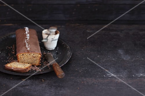 A nut cake with chocolate glaze