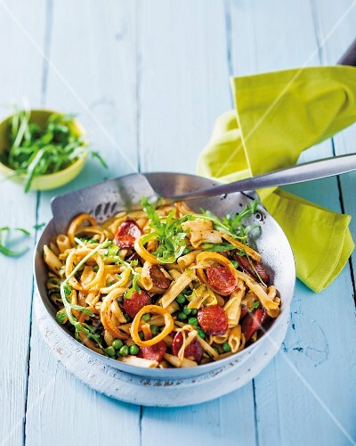 Noodles with squid and chorizo