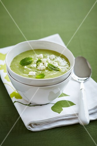 Mint soup topped with crumbled sheep's cheese